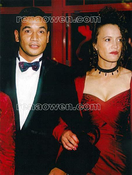 Rena and co-star Temuera Morrison at the premiere of Once Were Warriors