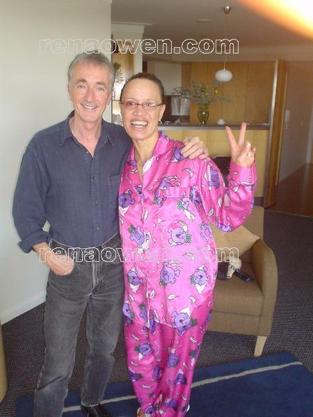 This was meant to be Anthony Daniels pyjama breakfast party, but only Rena turned up in her pjs!